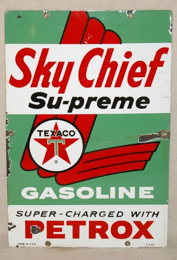 1503: Porcelain Sky Chief Texaco Advertising.