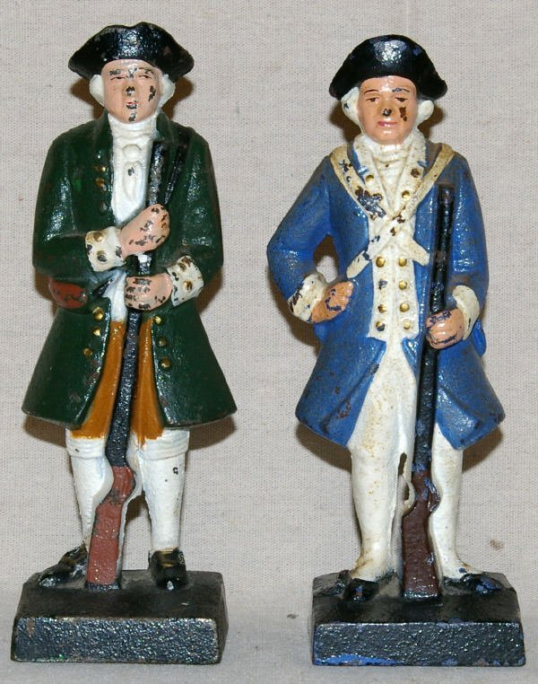 1511: Lot Of 2 Cast Iron Colonial Solider Figurines