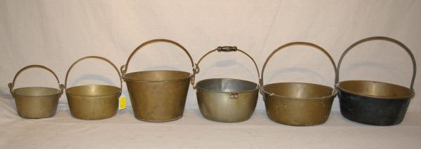 1515: Lot Of 6 Antique Brass Candy Kettles