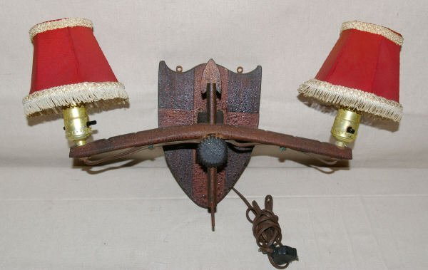 1522: Vintage Wooden Bow & Arrow Lodge Light Fixture