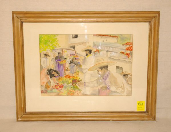 "1523: Ethel Blanche Hall- Watercolor ""Mexican Market"""