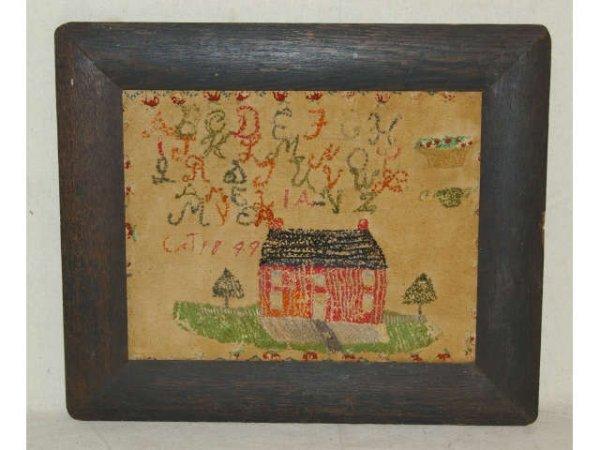 1: Farm House Needlepoint Sampler Dated 1849