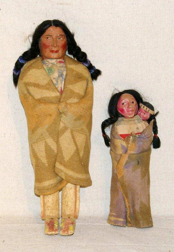 """6: Pair Of Skookum Indian Dolls """"Navajo Father"""""""