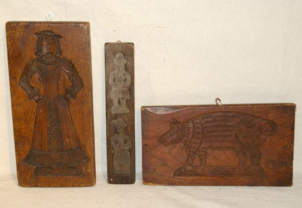 8: Three Early Hand Carved Cookie Molds