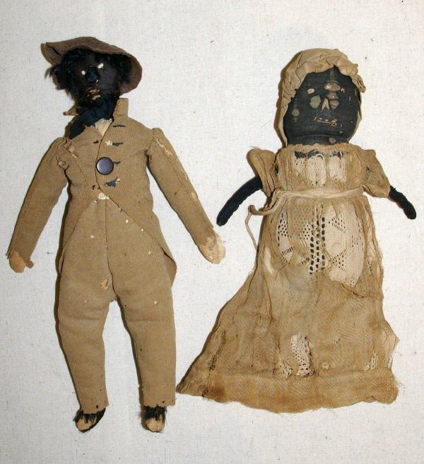 9: Pair Of Early Black Americana Cloth Dolls