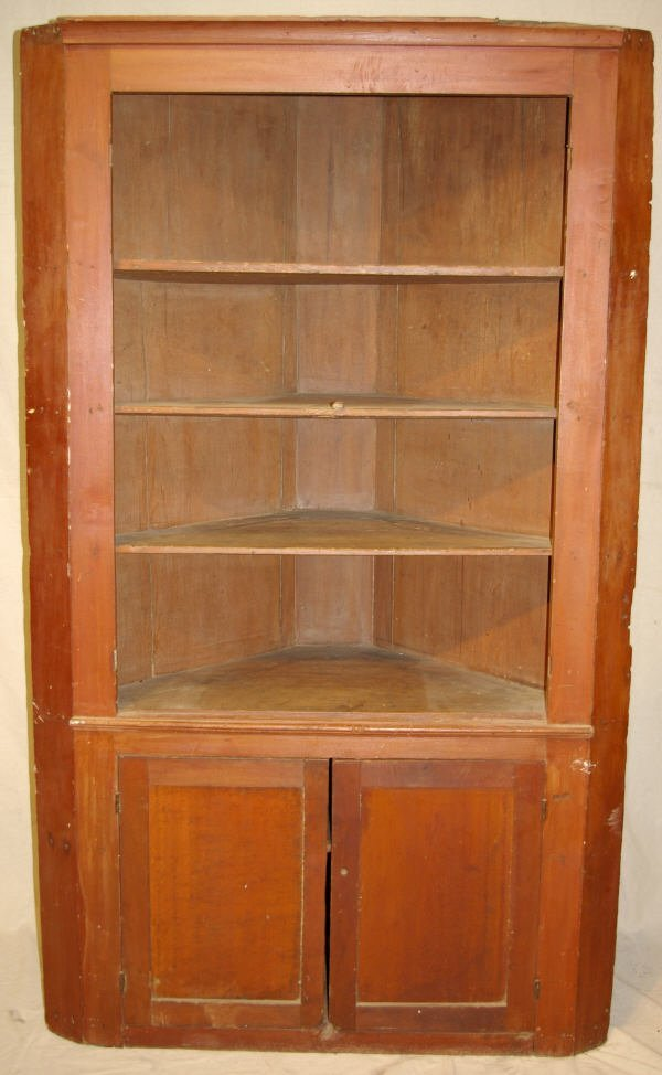 16: Early American Red Painted Corner Cupboard