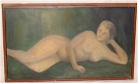 377: Oil On Canvas Faceless Nude Woman