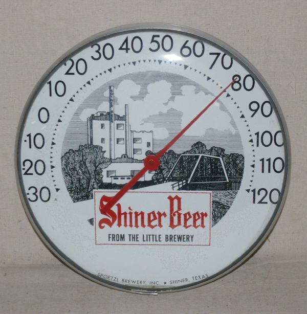 1004: Shiner Beer Advertising Thermometer