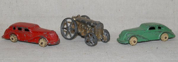 1506: 2 Vintage Toy Cars & 1 Vintage Toy Tractor