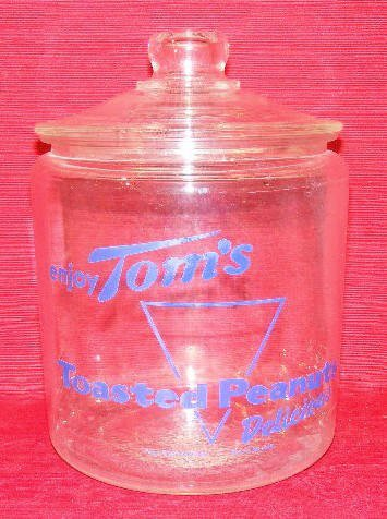 1516: Tom's Toasted Peanuts Glass Jar With Lid