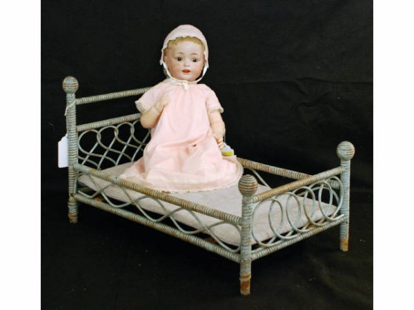 19:Antique Simon Halbig Doll & Wicker Doll Bed