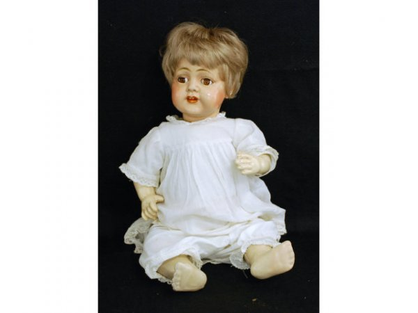 20: Antique Composition Doll Marked BDC Inc 18