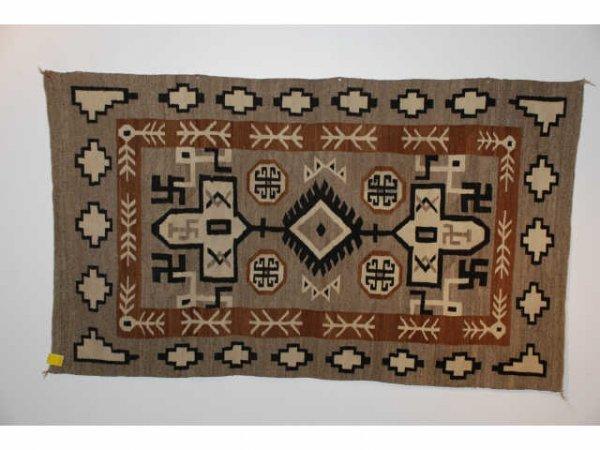 95: Antique Navajo Indian Rug Swastika