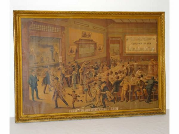 21: Antique Great American Tea Co. Lithograph Sign