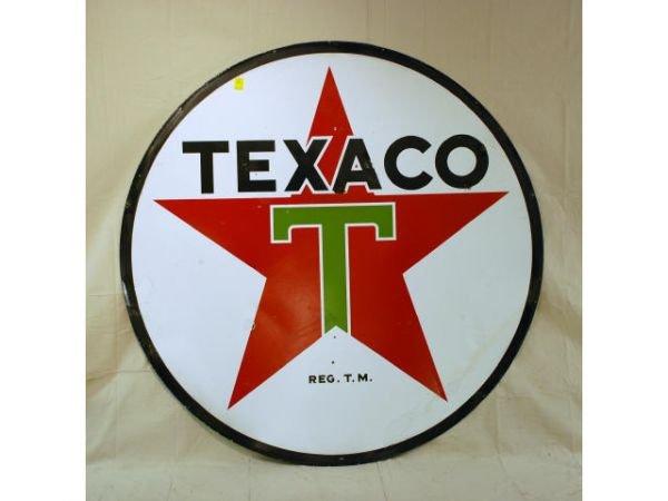 8: Texaco Round Double Sided Porcelain Sign