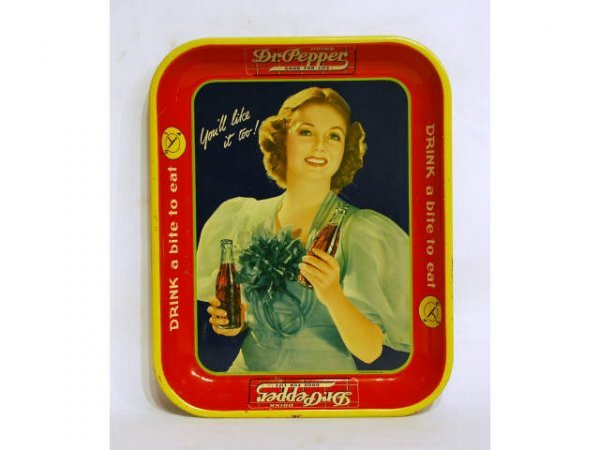 4: 1940s Vintage Dr Pepper Advertising Tray