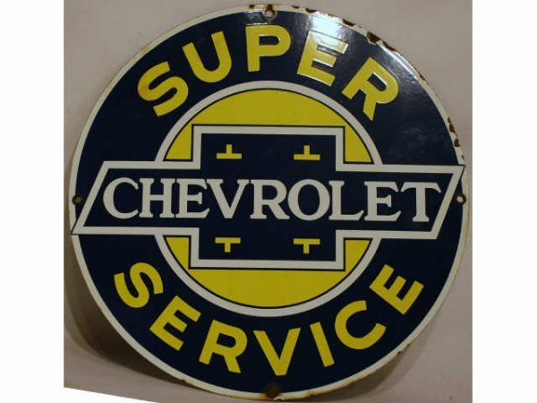 10: Vintage Chevrolet Porcelain Advertising Sign Chevy