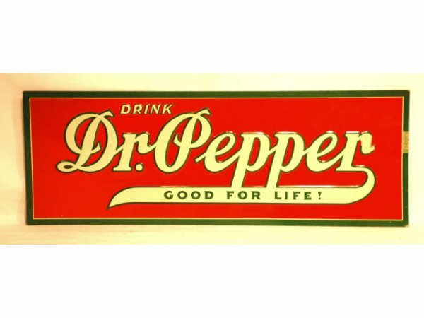 44: Vintage Dr Pepper Tin Advertising Sign 1930s