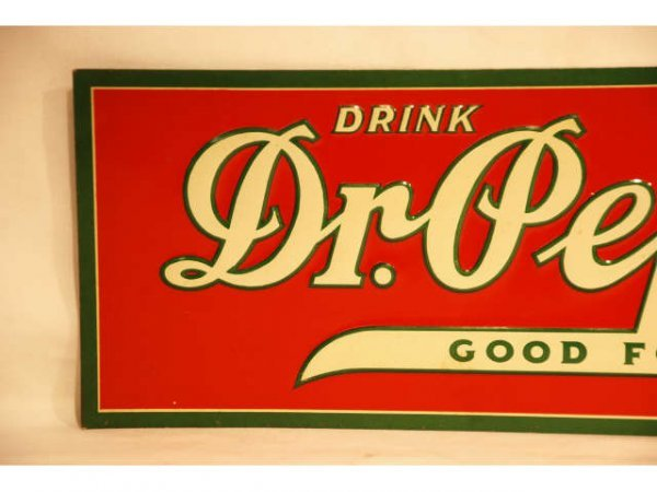 44: Vintage Dr Pepper Tin Advertising Sign 1930s - 3