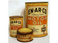 419 Three Vintage ENARCO Motor Oil Cans