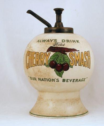 7: Fowler's Cherry Smash Soda Fountain Syrup Dispenser
