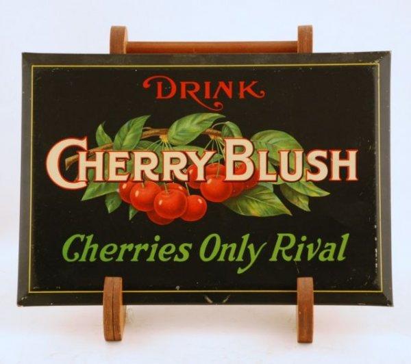 8: Cherry Blush Tin Soda Fountain Advertising Sign