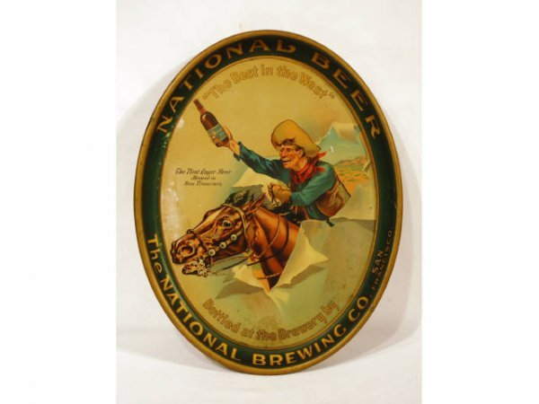 9: National Beer Cowboy Serving Tray