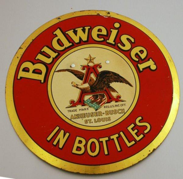 10: Budweiser Beer Round Counter Top Tin Sign