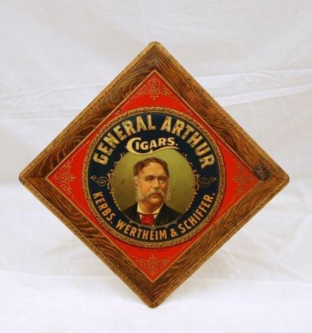 21: General Arthur Cigars Tin Advertising Sign