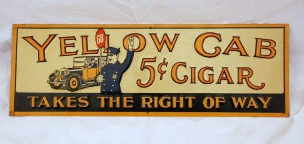 23: Yellow Cab Cigars Tin Advertising Sign