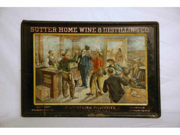 35: Self Framed Tin Saloon Sign Sutter Home 1905
