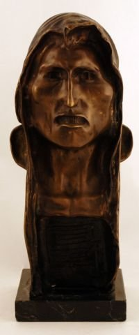 58: Signed 1908 Frederic Remington Indian Head Bronze