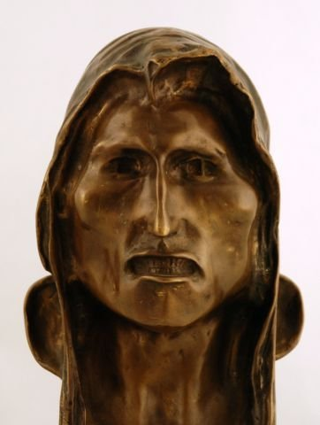 58: Signed 1908 Frederic Remington Indian Head Bronze - 2