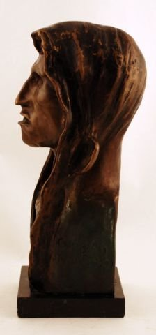 58: Signed 1908 Frederic Remington Indian Head Bronze - 4