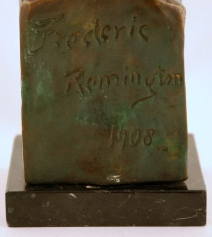 58: Signed 1908 Frederic Remington Indian Head Bronze - 7