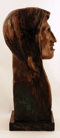 58: Signed 1908 Frederic Remington Indian Head Bronze - 8