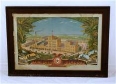 62: 1900s Lone Star Beer Factory Scene Saloon Sign