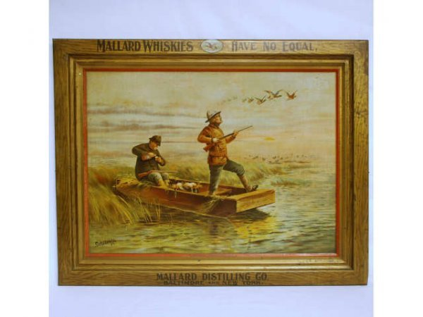64: Mallard Whiskies Self Framed Tin Sign 1902