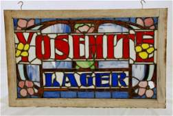 105: Yosemite Beer Advertising Stained Glass Window