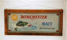 210 1947 Winchester Fishing Lures Painted Sign