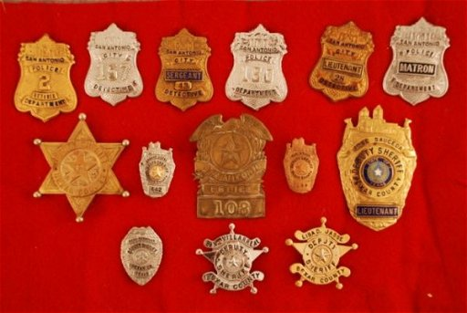 450: 14 Bexar County Sheriff & San Antonio P D  Badges