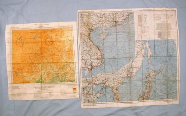 506: Pair Of WWII 1944 Silk Pilot's Maps