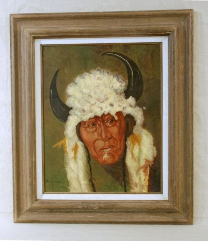 521: Rudolph Zalone Oil Painting Of Indian Chief