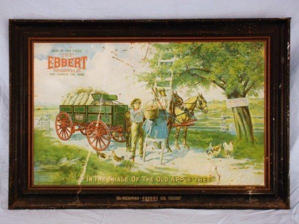 621: Hickman-Ebbert Wagon Co. Self Framed Tin Sign