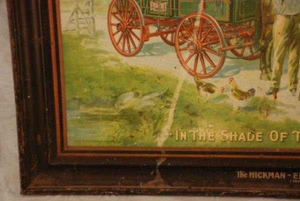 621: Hickman-Ebbert Wagon Co. Self Framed Tin Sign - 7