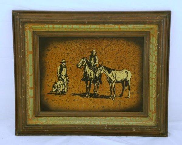 643: Jack White Gold Leaf Cowboy Painting