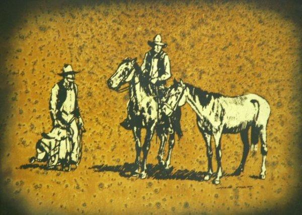 643: Jack White Gold Leaf Cowboy Painting - 2