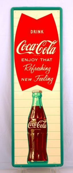 7: Vintage Coca-Cola Fish Tail Bottle Sign NOS