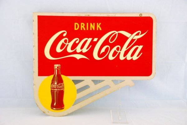 9: 1948 Coca-Cola Double-Sided Flange Sign Yellow Dot
