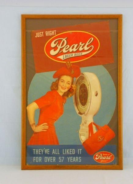 19: 1940s Pearl Beer Advertising Sign